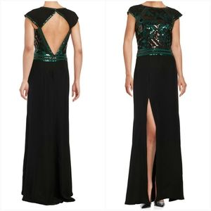 Tadashi Shoji Geo Sequined Crepe Gown